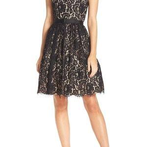 ELIZA J Lace Fit Flare Dress Black Size 8